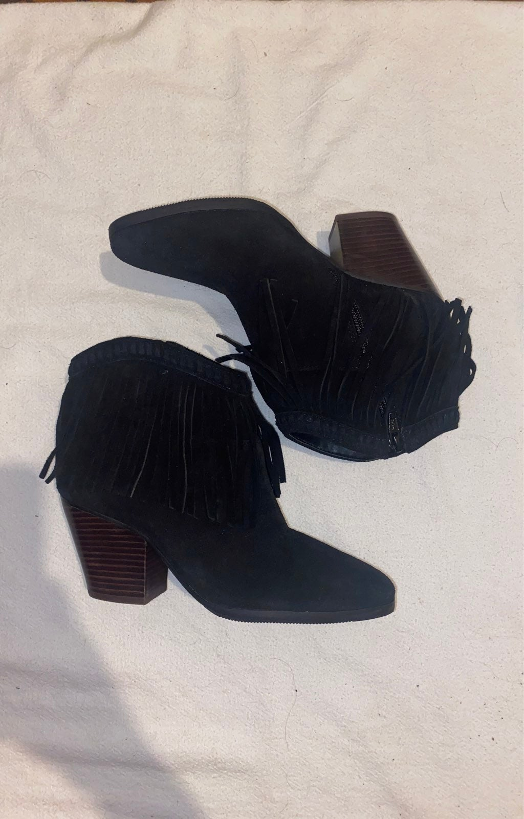 Womens Black Fringe Boots