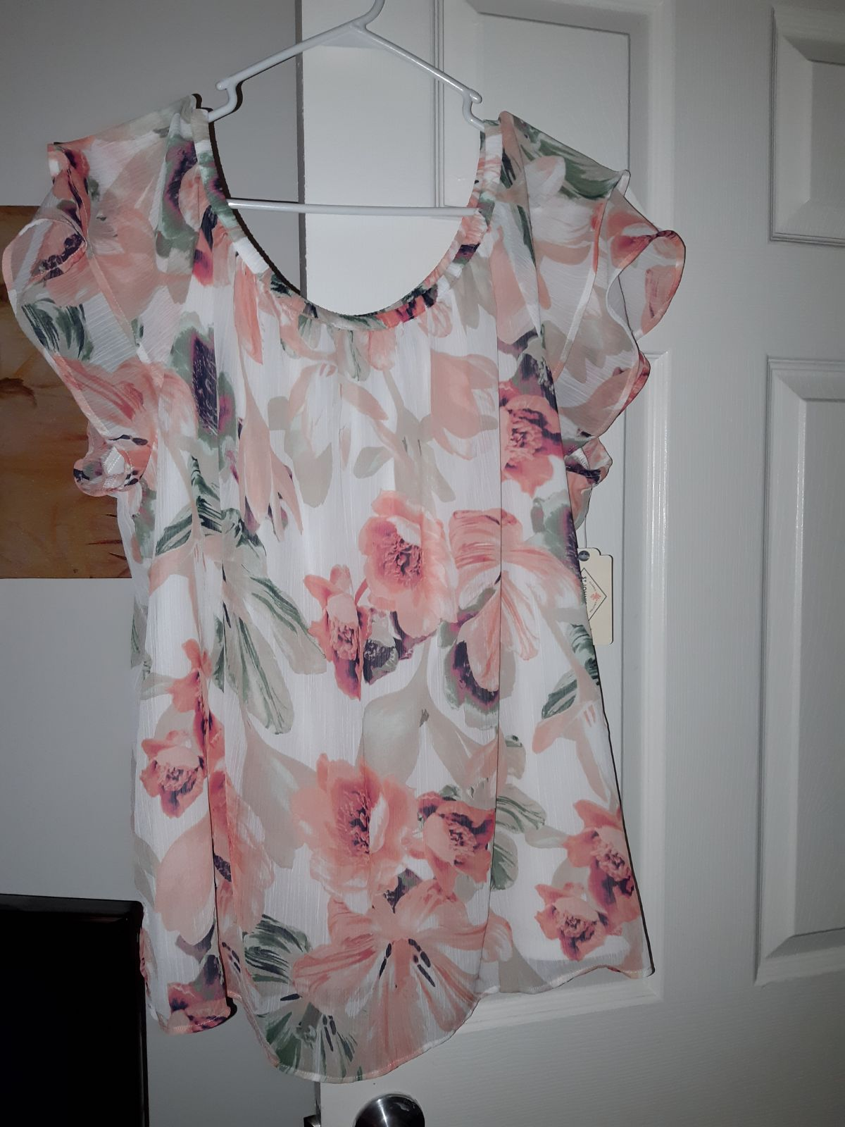 Pink Floral Womens Plus Blouse