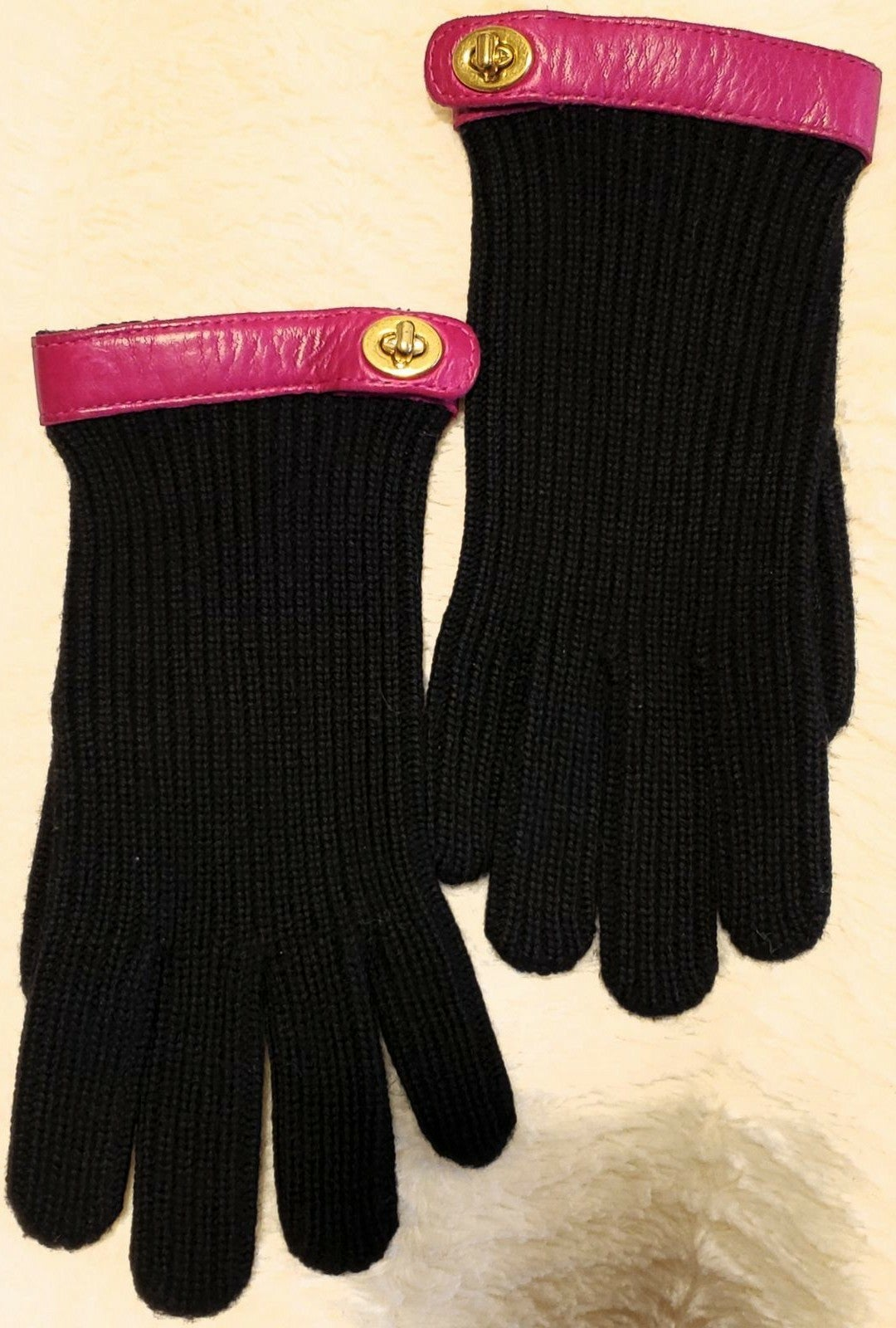 Coach Womens Black Wool Leather Gloves