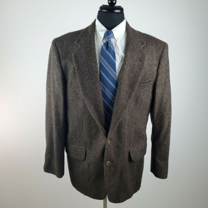 Savile Row 44R 2 Button Wool Tweed Brown