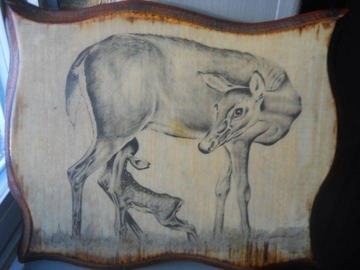 Deer On Wood Plaque Pic Fawns Deer Vtg