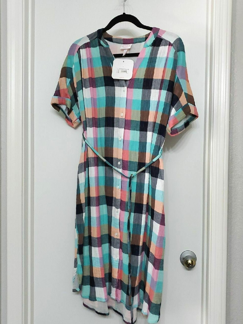 Isabel Maternity L plaid dress