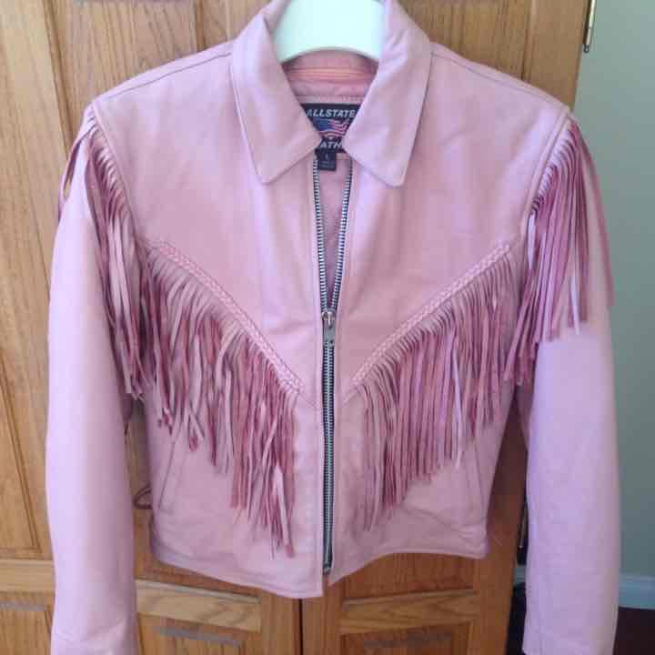 Pink LEATHER JACKET LG