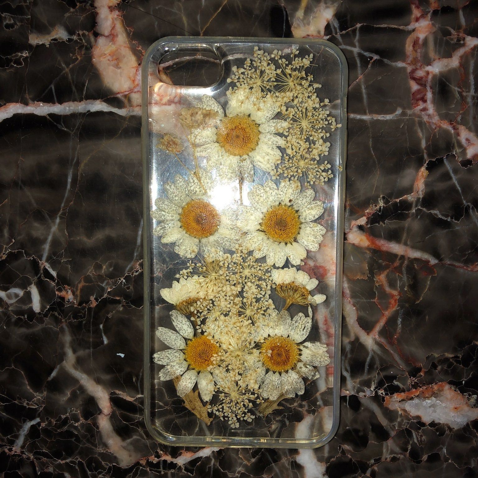 real flowers clear iphone 6/7/8 case