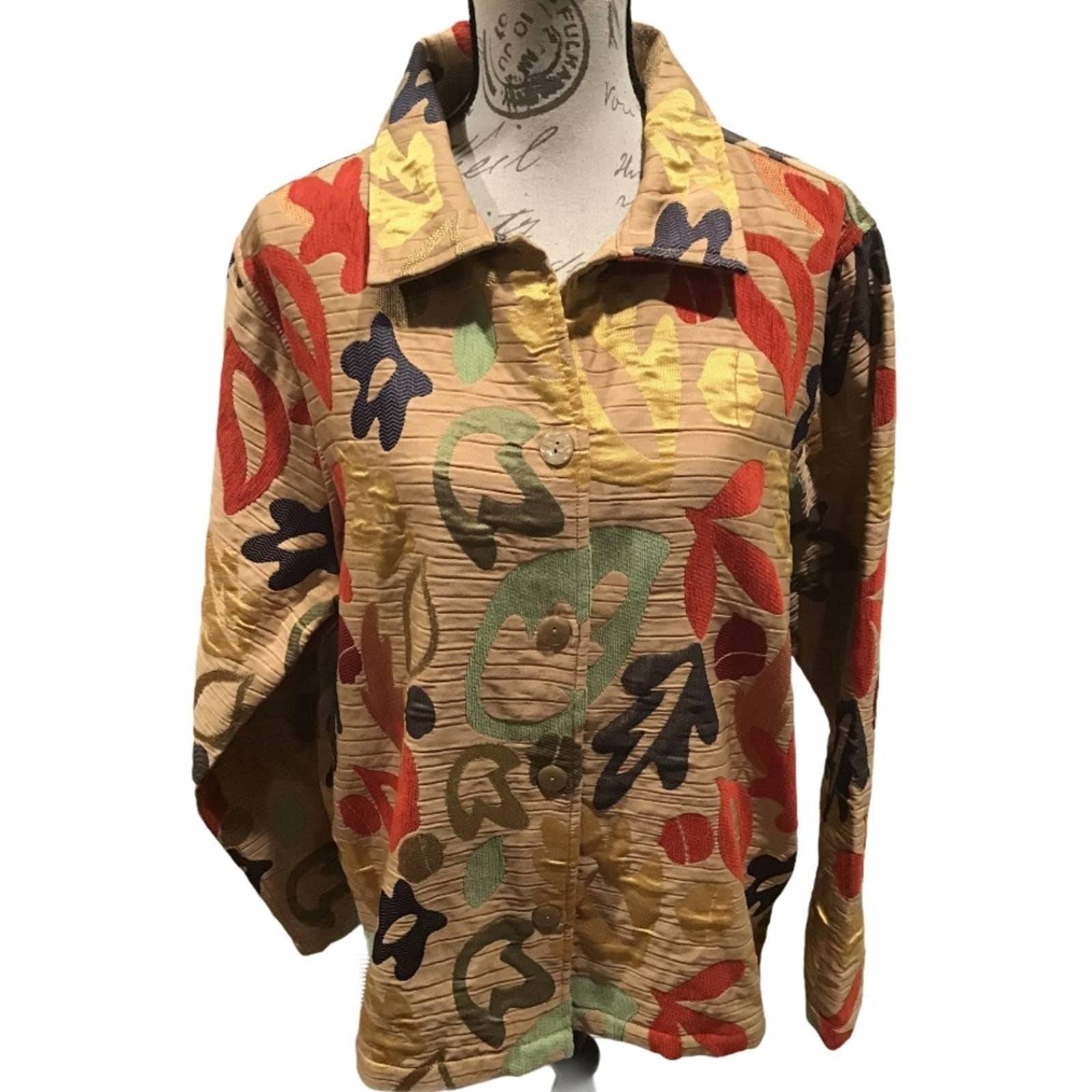 Breckenridge Leaf Print Gold Jacket XL