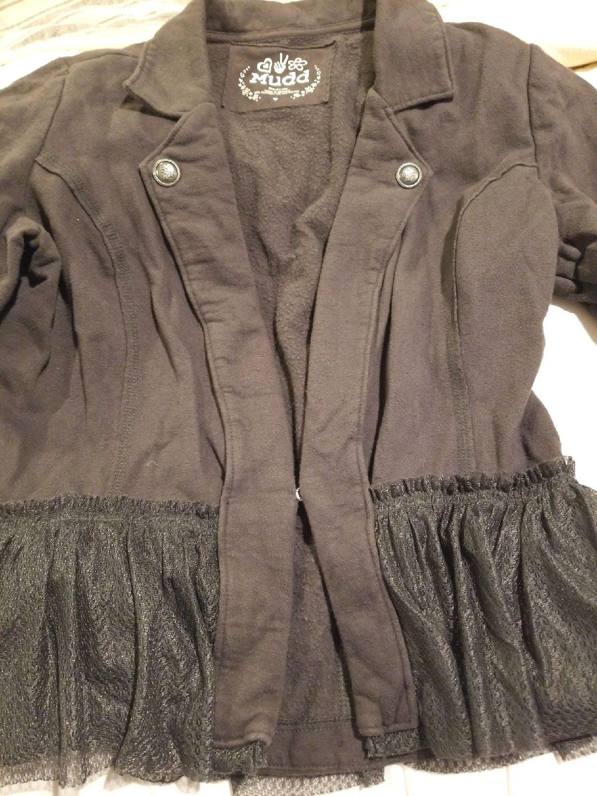 Mudd fleece knit peplum ruffle blazer