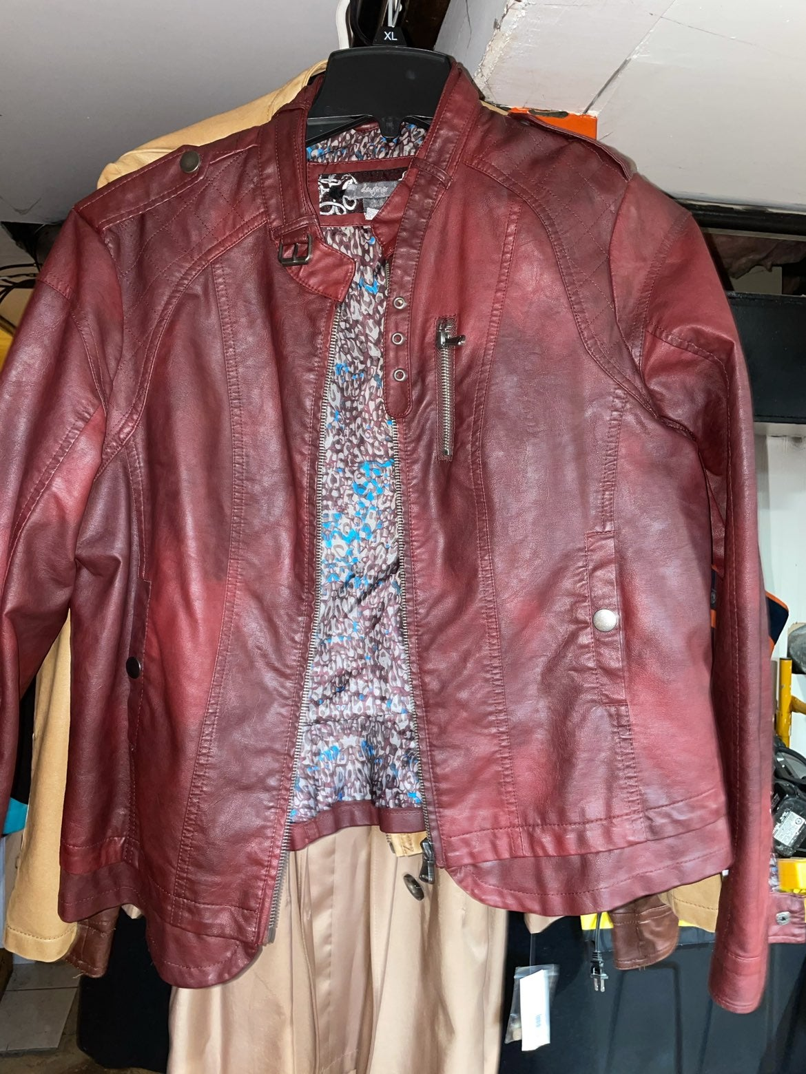 Buckle red leather jacket