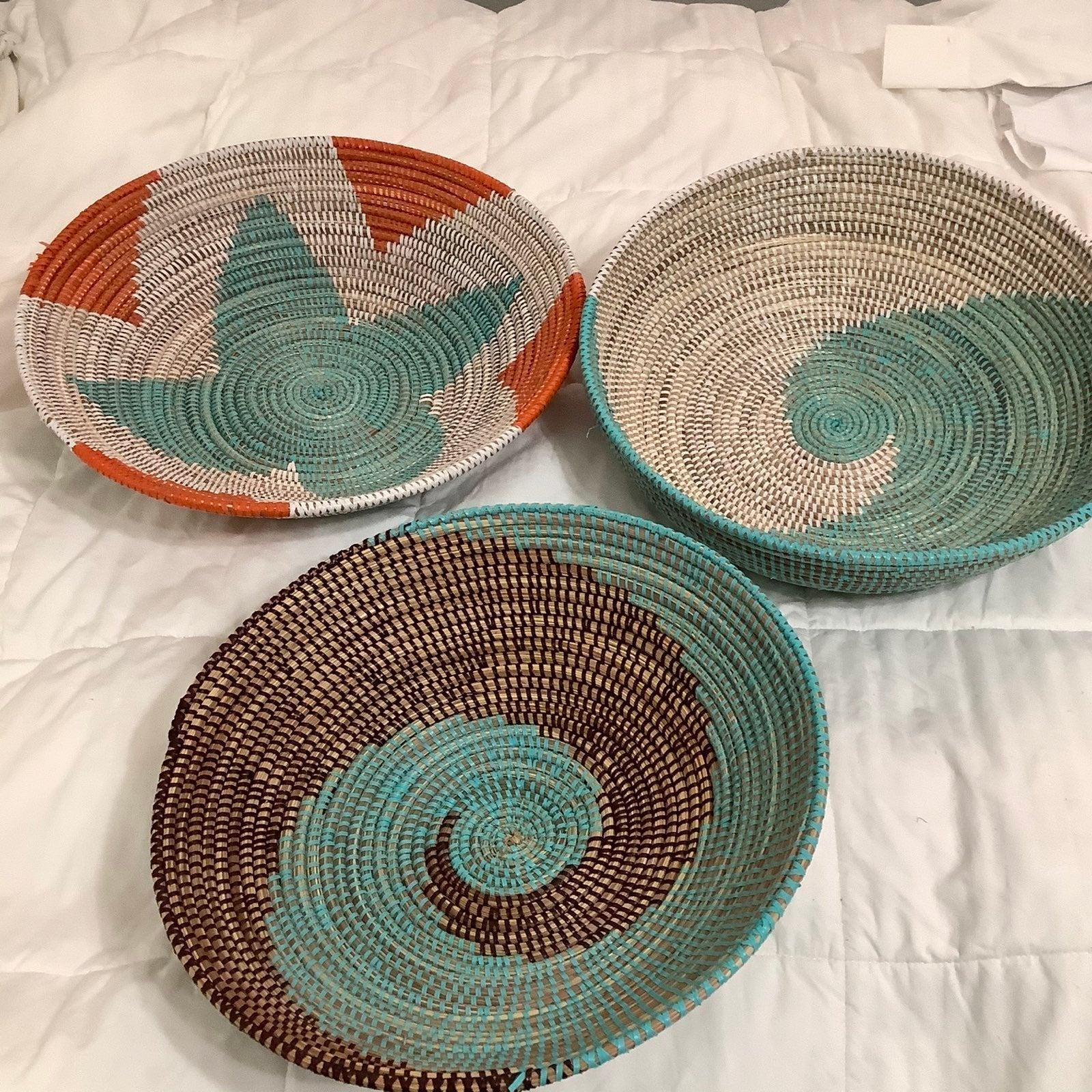 African Woven Baskets X 3