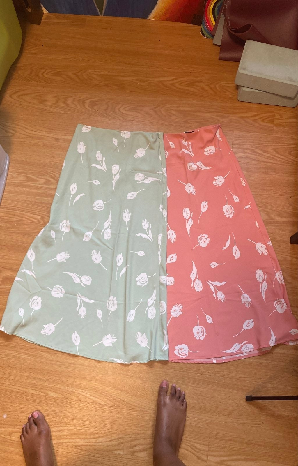 Pink & Green White Flowered Skirts