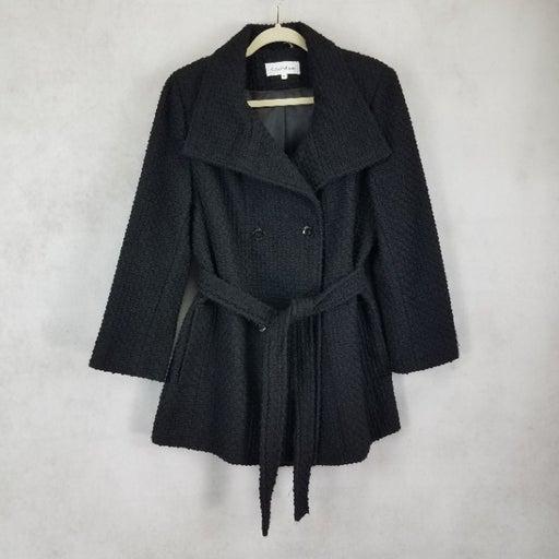NEW Calvin Klein 14 Double Breasted Belted Basket Weave City Tweed Coat Black