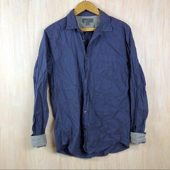 Vince Blue Cotton Linen Button Down