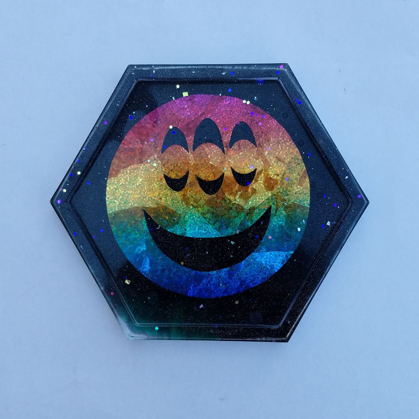 Glittery black resin trinket tray/dish/c