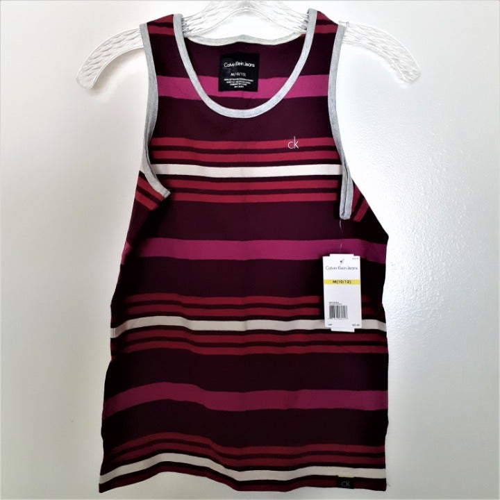 """Calvin Klein """"Beetroot"""" striped tank (M)"""