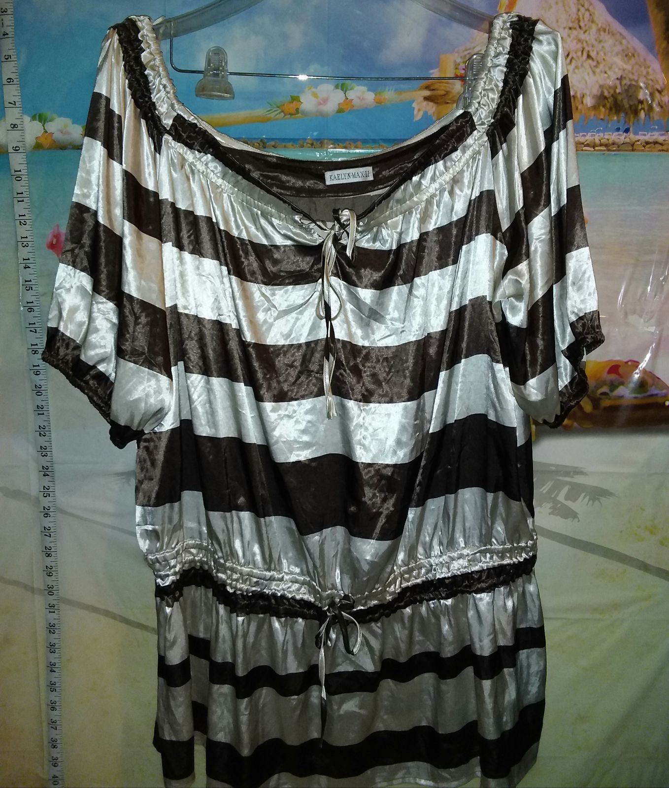 Brown and cream striped blouse 2x