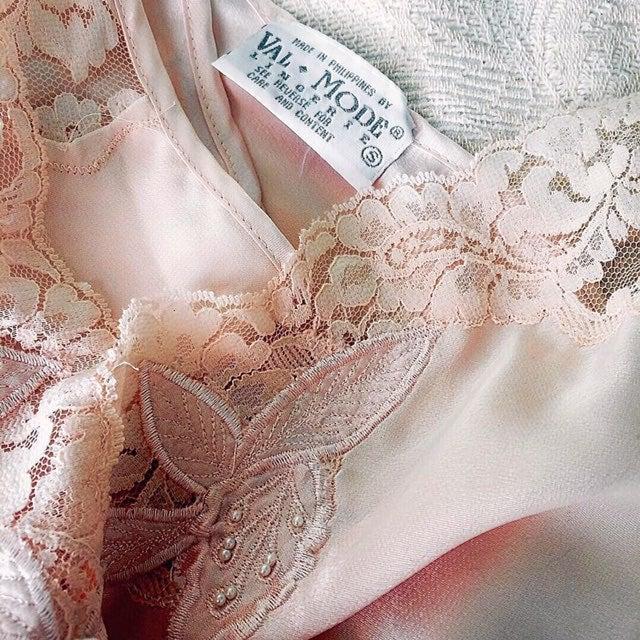 80s Vintage Pink Satin Lingere Slip