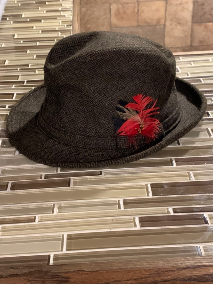 Vintage Adam Fedora Hat with Feather