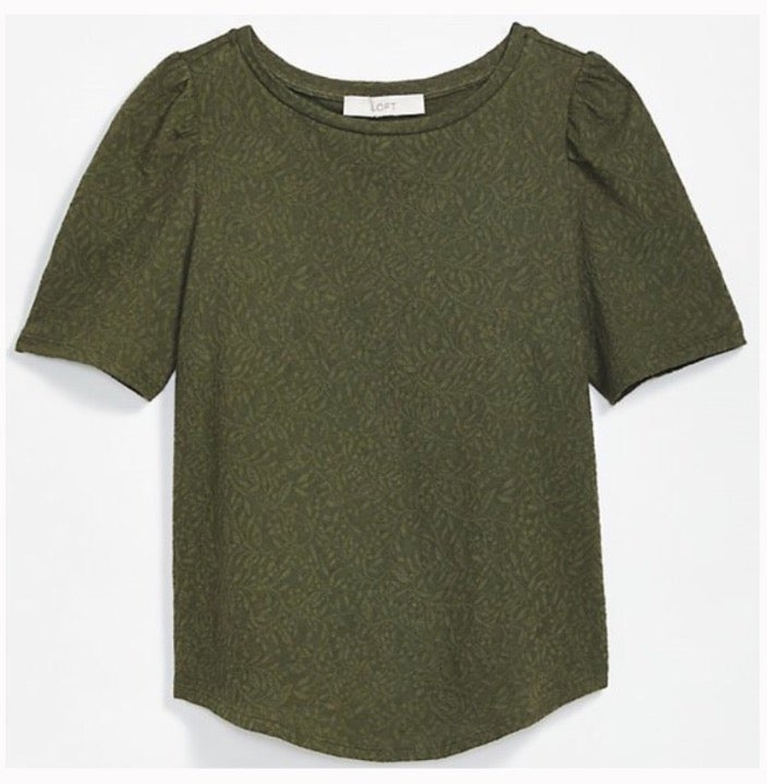 LOFT NWT Green Lace Top S