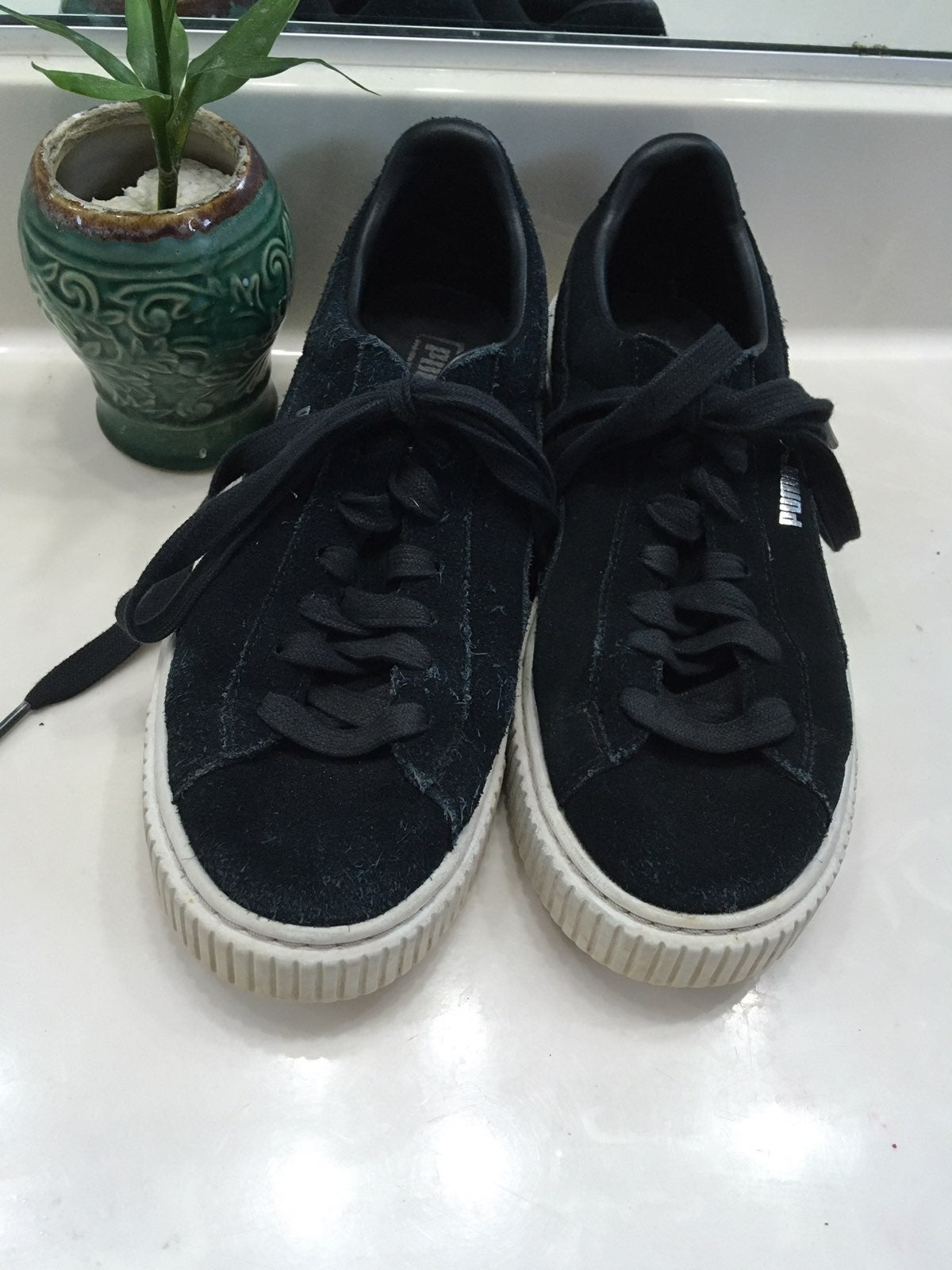 Black Suede Leather Lace Up Sneakers
