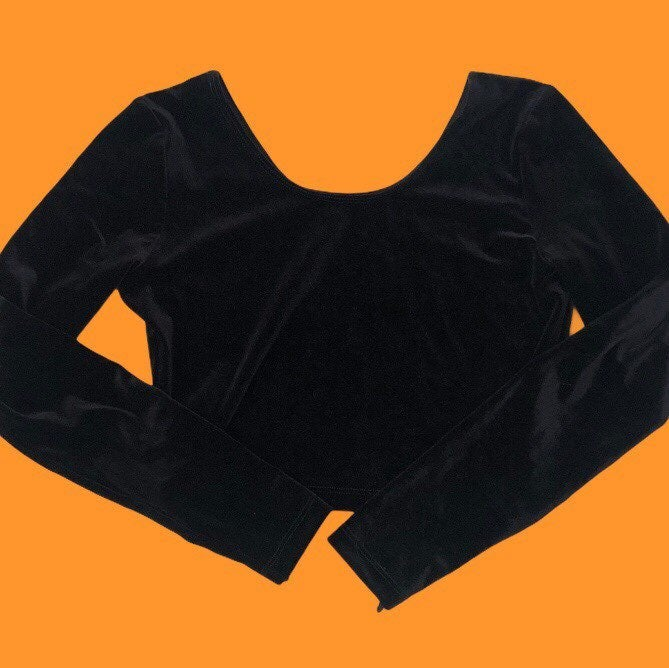 American apparel black velour crop top