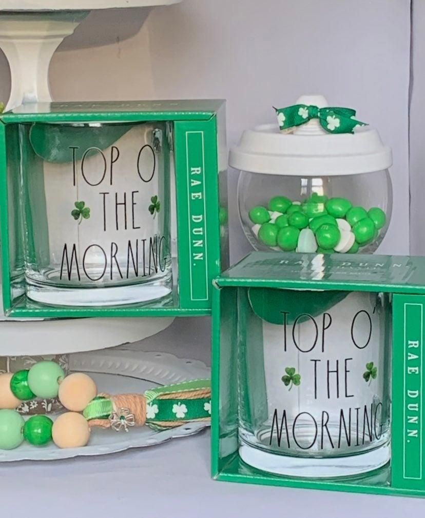 Rae Dunn TOP O THE MORNING Glass Mugs-2