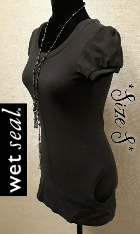 WET SEAL Cute Knit Top Side Scoop Pocket