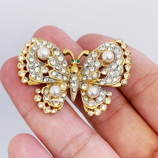 Craft Gold Tone Pearl Butterfly Brooch