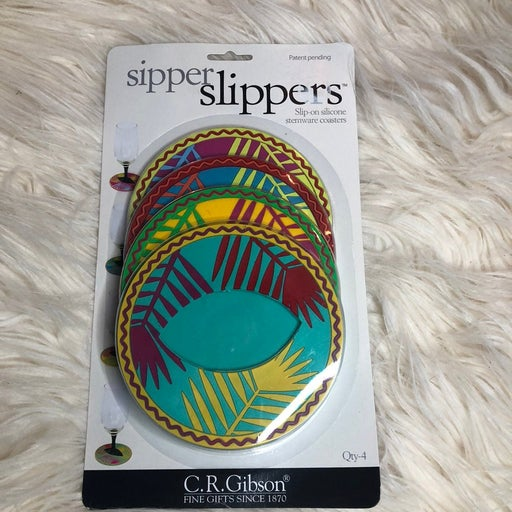 Sipper slippers wine coasters pack of 4