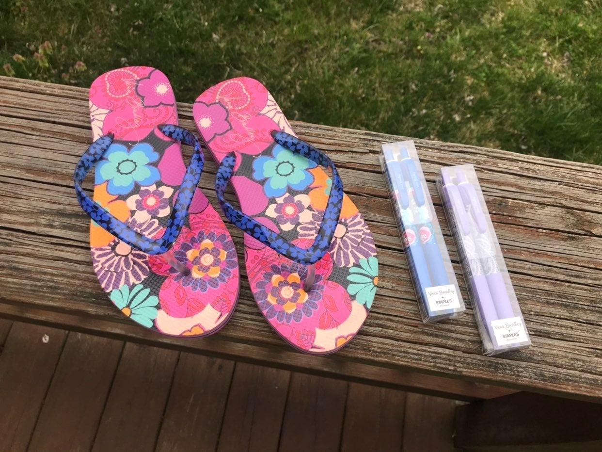 Vera Bradley Flip Flops & Pens Set