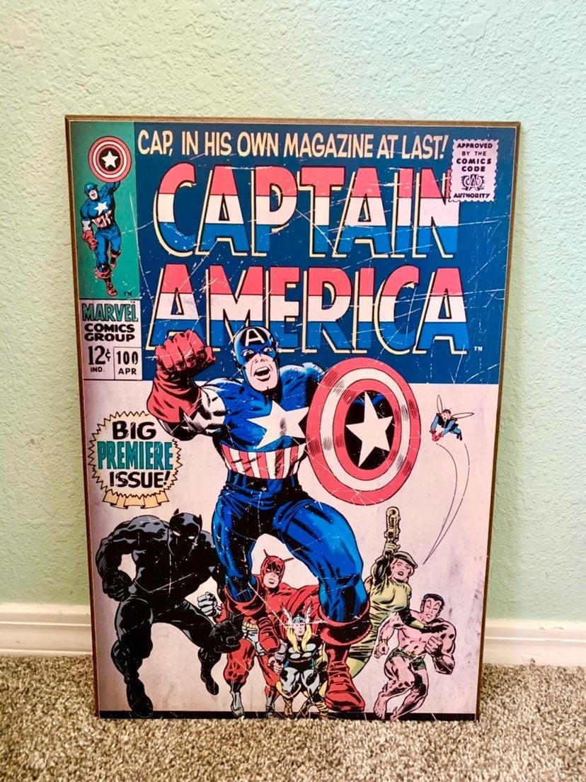 Captain America Avengers vintage wooden