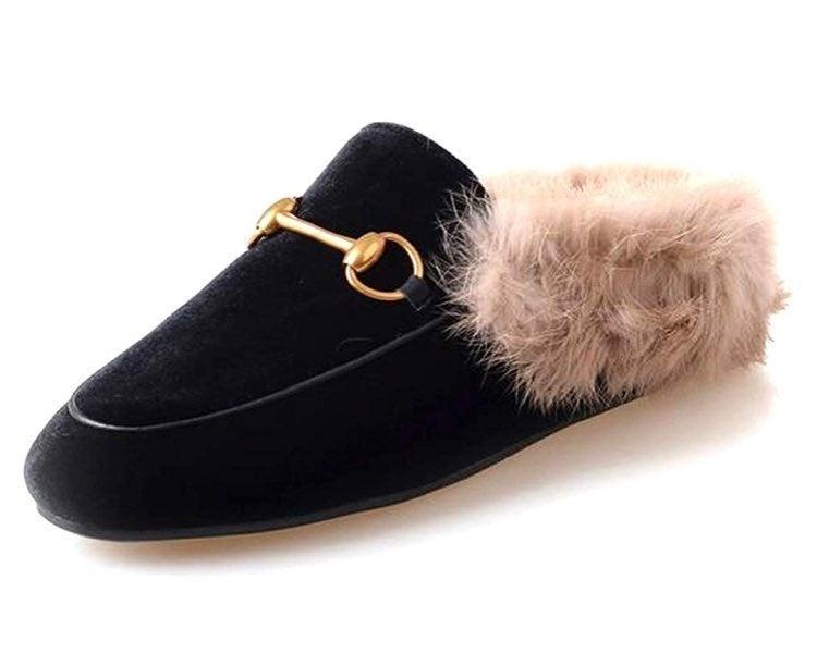 Black Velvet Fur Lined Mule/Slipper