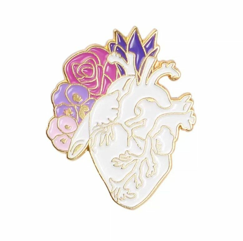 ***5/$25*** floral anatomical heart pin