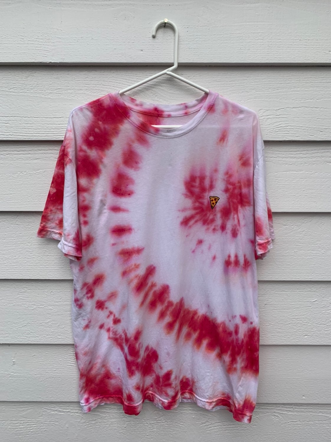 Custom tie dye pizza shirt - Large
