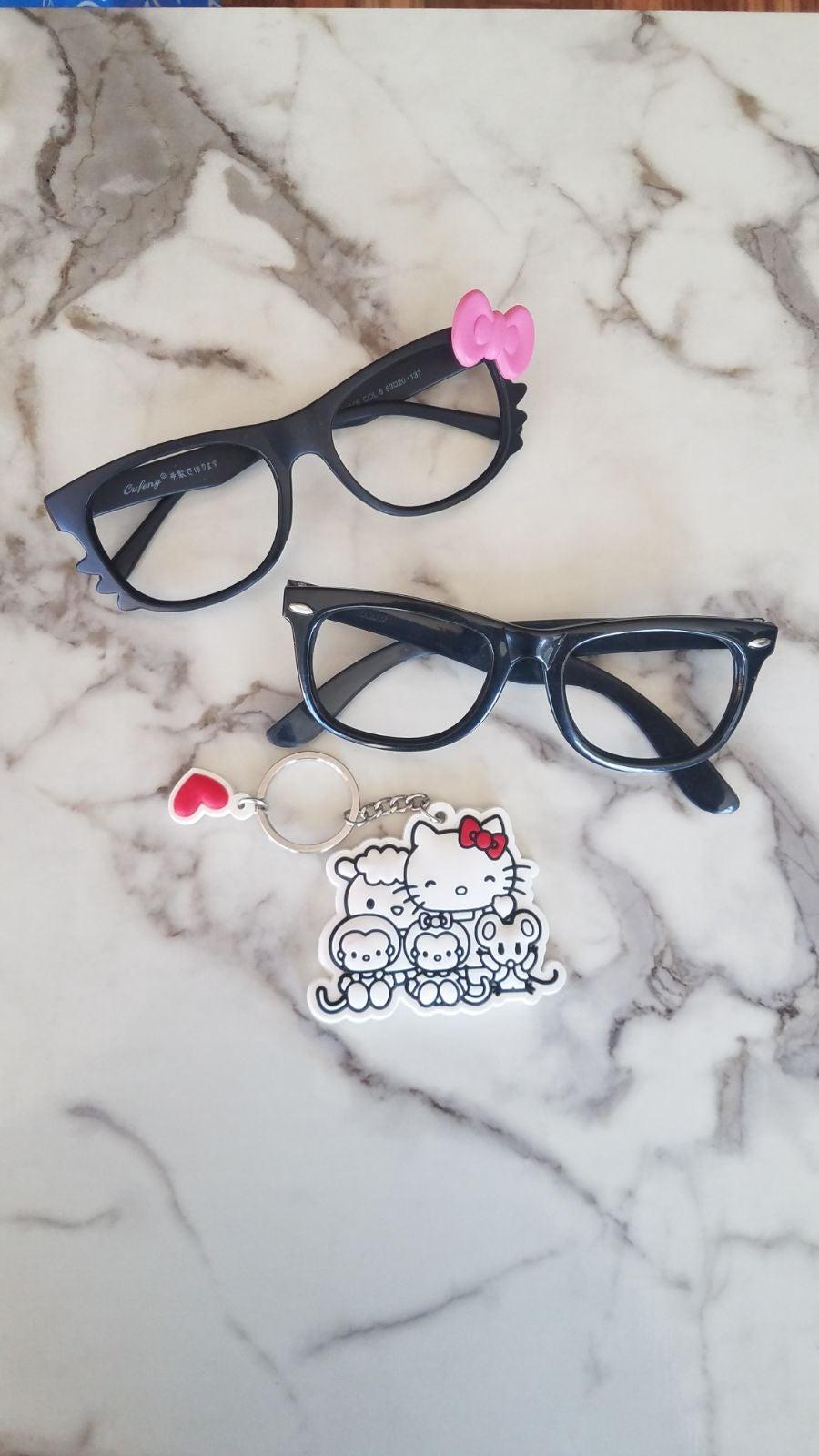 Black Rimmed No Lens Hello Kitty Glasses