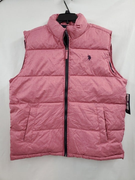 US Polo Men's Puffer Vest Red Heather XX