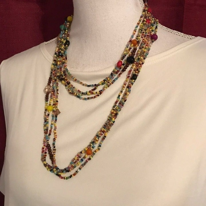 Avenue Colorful Seed 4 Strand Necklace