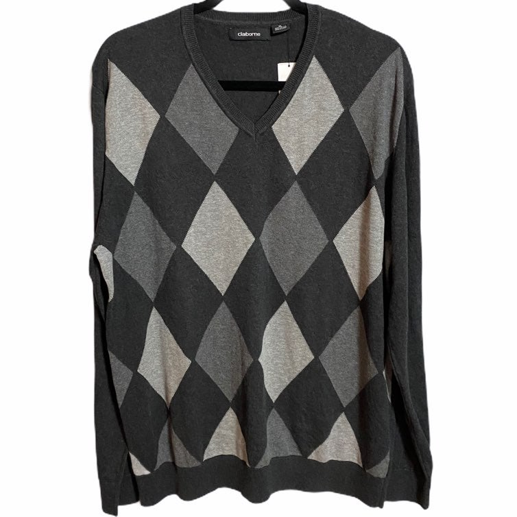 Claiborne Gray Argyle Sweater