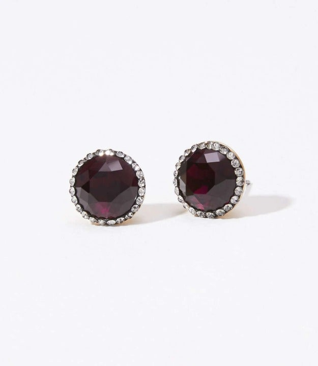 NEW LOFT Ruby Pave Stone Earrings
