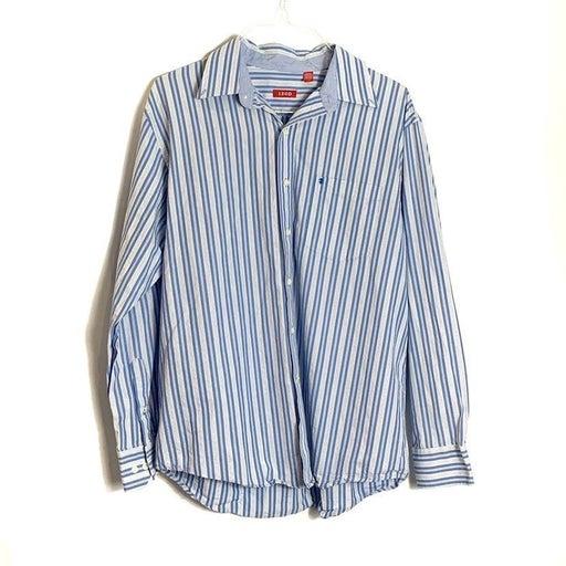 IZOD Mens Button Stripe Collar Shirt - L