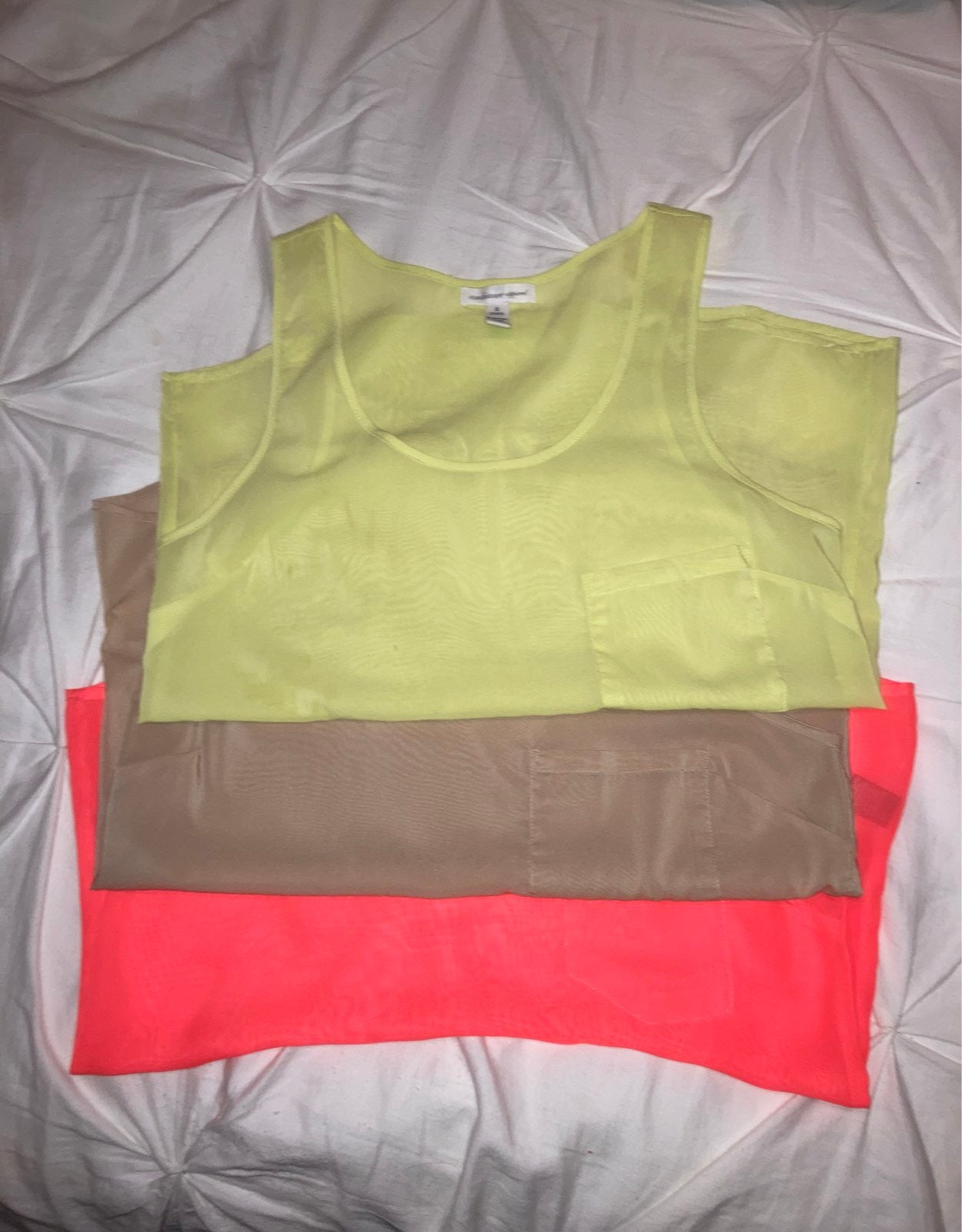 Sheer tank top blouses Size S