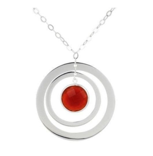Sterling Carnelian Circle Drop Necklace