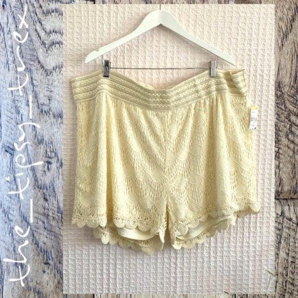 Bongo Cream Lace Shorts NWT 3X