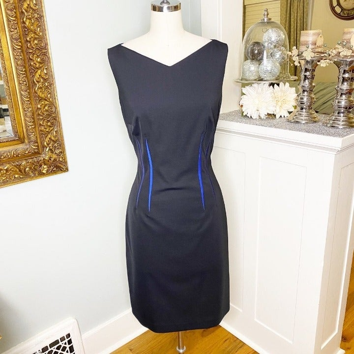 Elie Tahari Black Stretch Sheath Dress