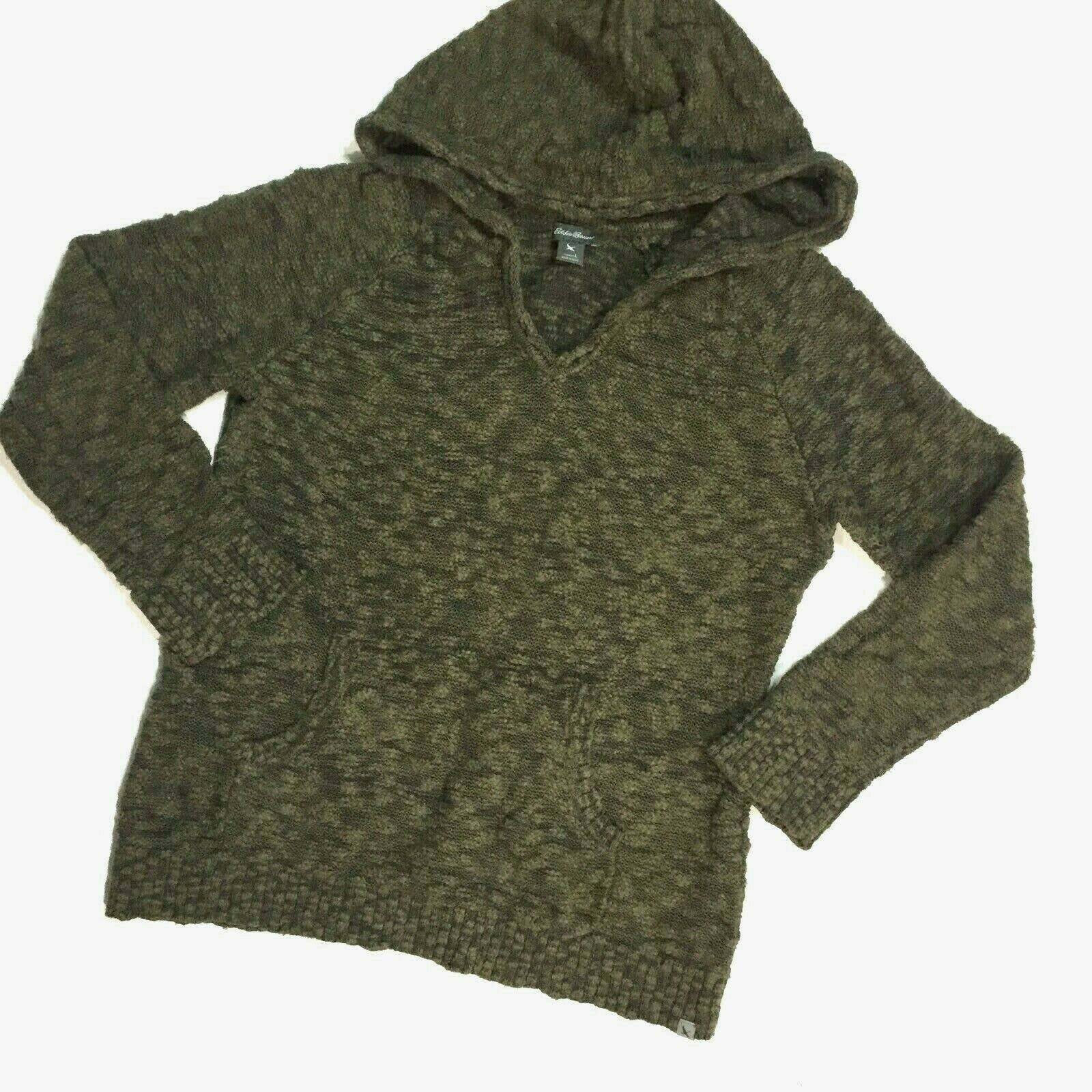 Eddie Bauer Olive Boucle Hooded Sweater