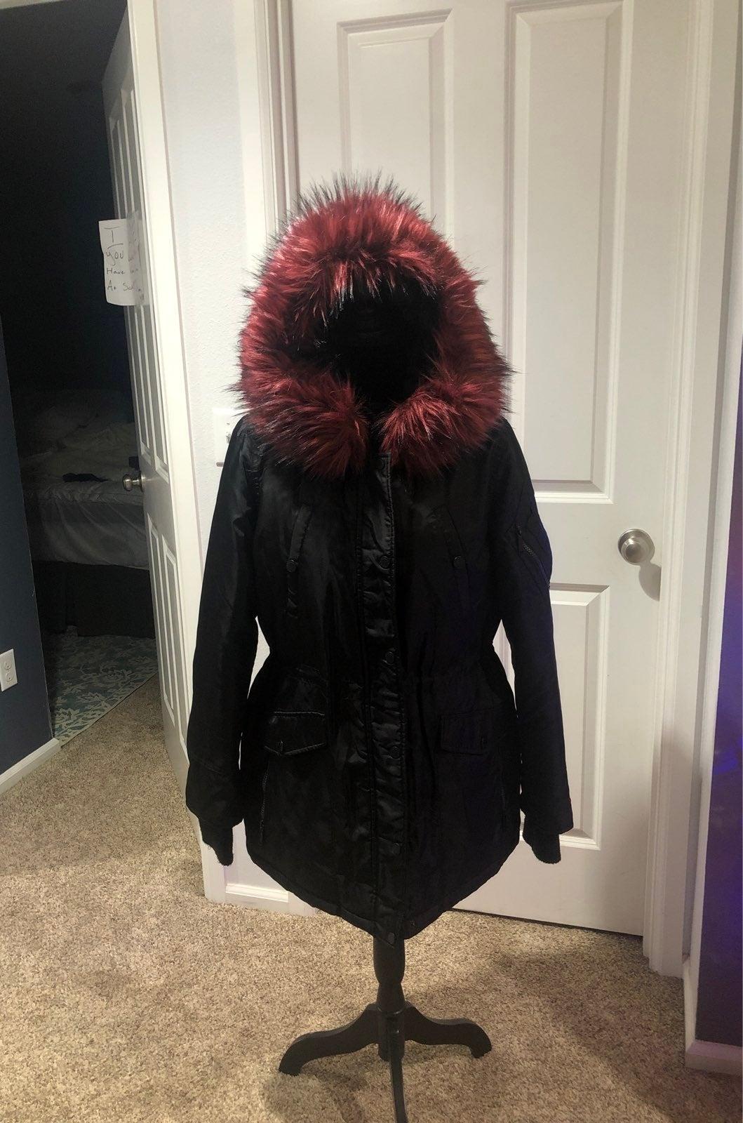 BCB  Hooded Faux-Fur-Trim Down