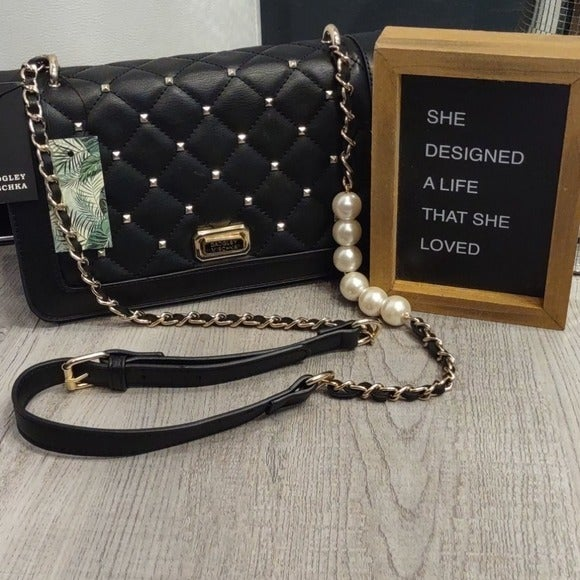 BADGLEY MISCHKA Quilt Black Pearl Purse