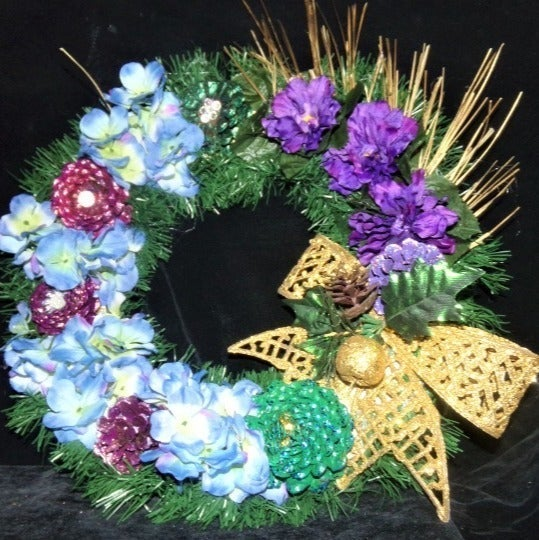 Hand-Painted Pine Cone and Flower Wreath