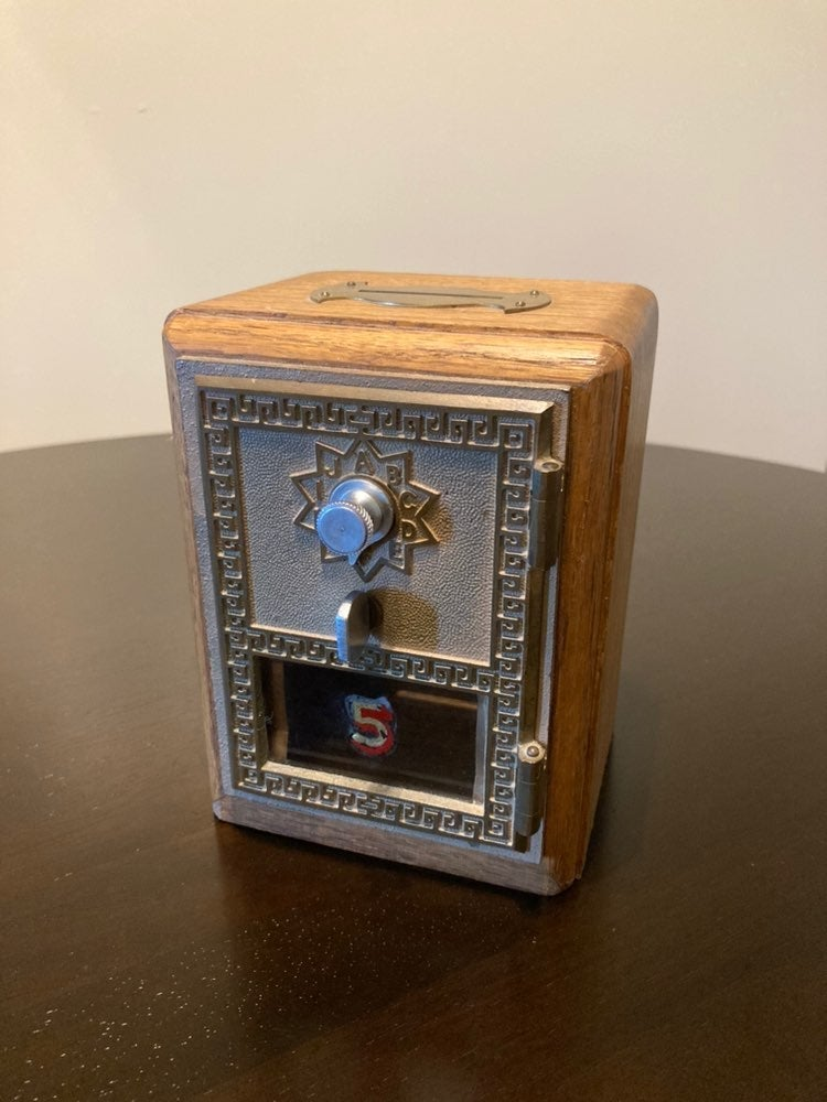 Solid Wood & Metal Coin Bank