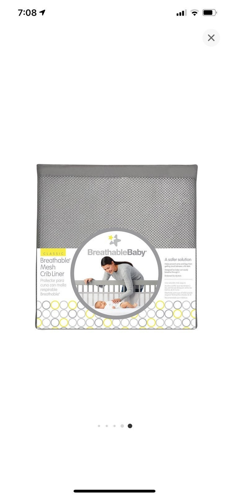 Breathable mesh baby crib liner, used