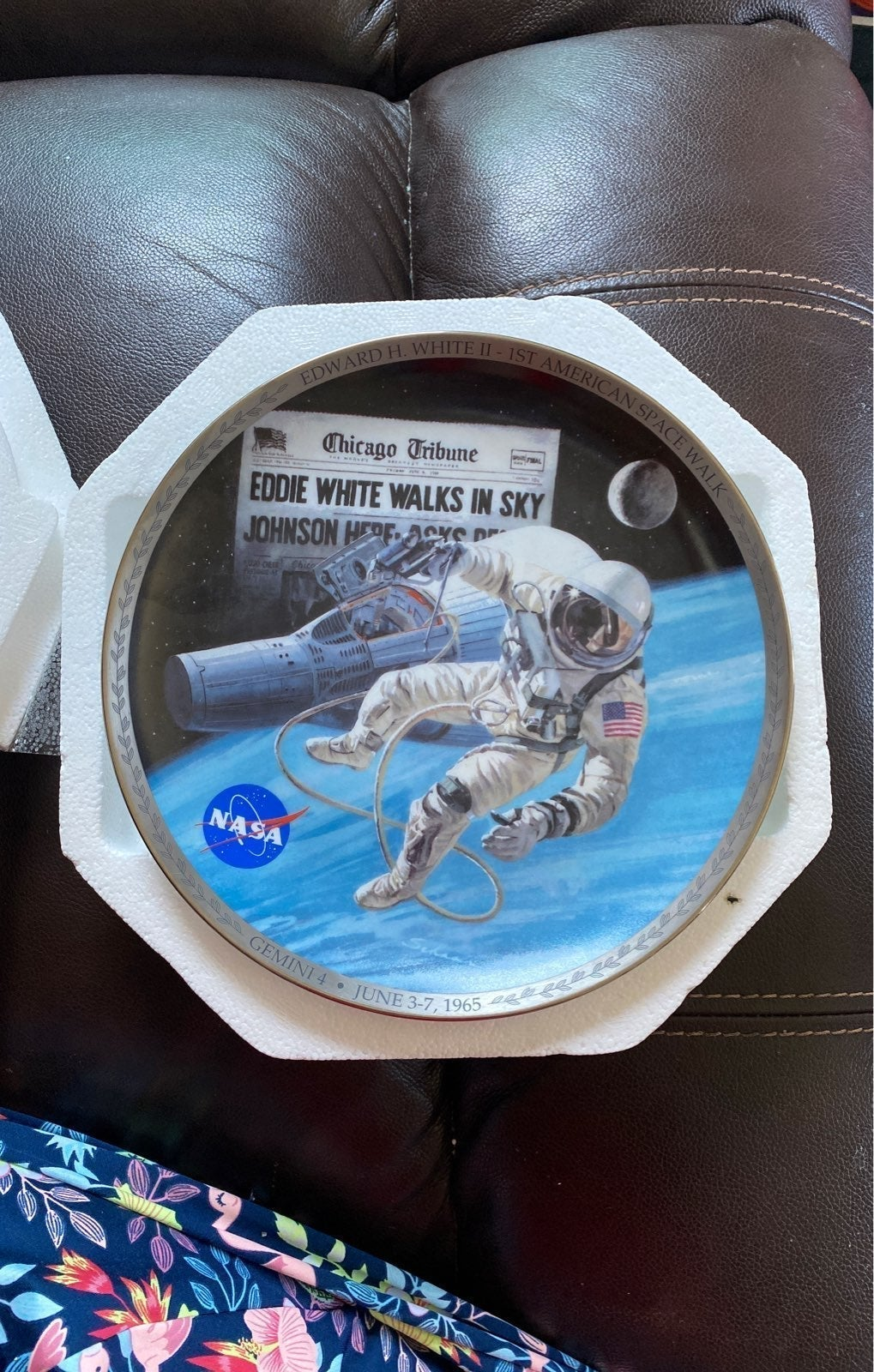 First American space walk plate