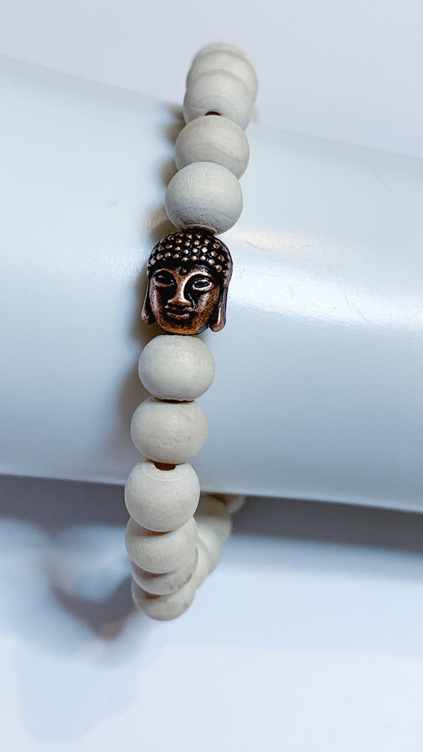 Wood Beads Buddha Head Mala Bracelet